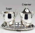 Rental store for Creamer,sugar,tray silver 3pcs in Philadelphia PA